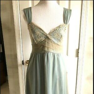 Anthropologie blue dress with gold lace